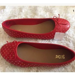NEW BRASH Brit red flats gold studs size 11